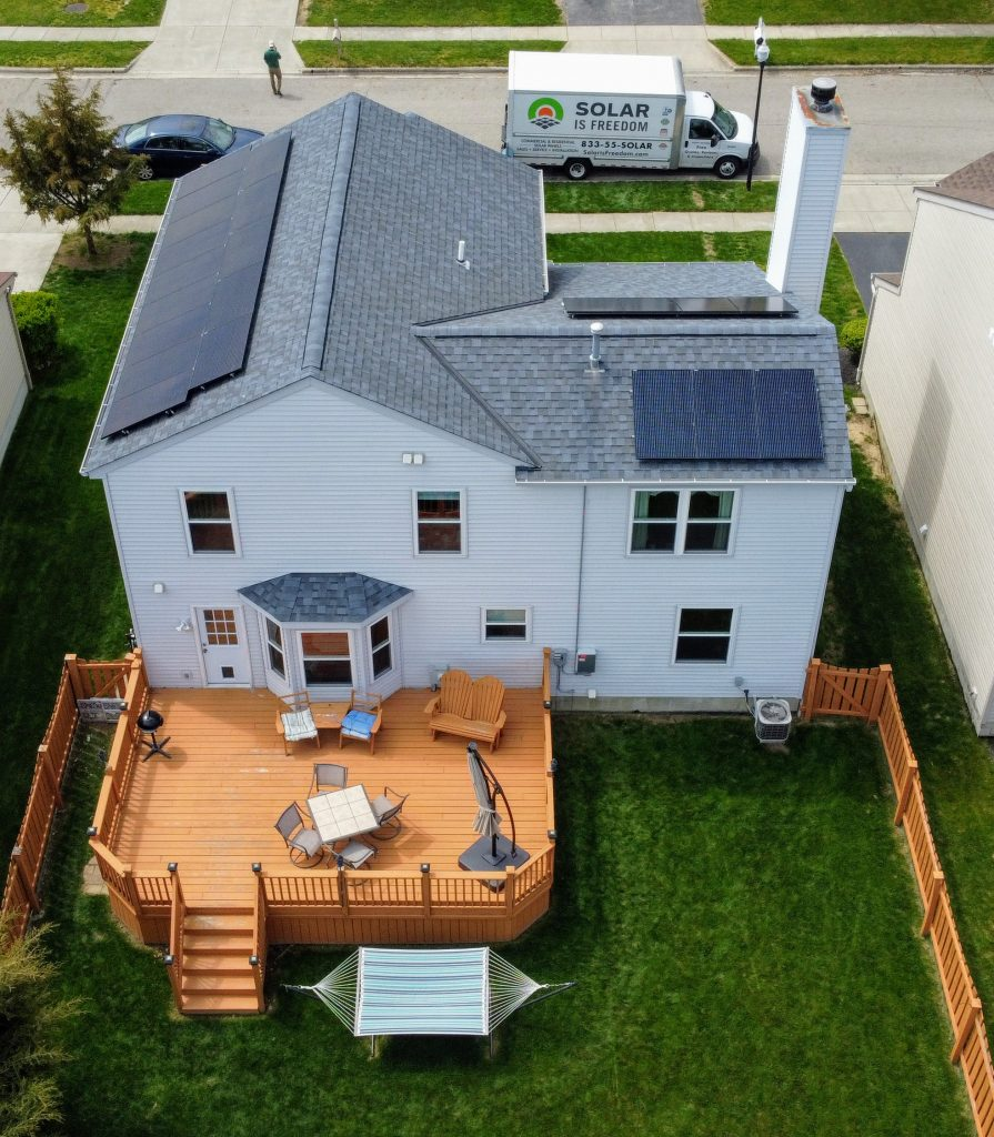 Residential solar installation on roof of home